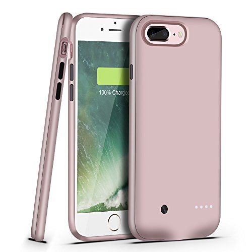 iPhone 8 Plus / 7 Plus Battery Case- Support Lightning Port Headphones, 4880mAh Extended 8 Plus With Audio Portable Charger For iPhone 7 Plus [Ultra Slim] (Lightning Connector Output)-Rose gold