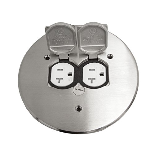 Round Flange Dual Flip Cover By Enerlites 705517 S Electrical Floor Box  Lid, 20A Duplex Tamper / Weather Resistant Outlet, 5.69u0027u0027 Nickel Plated  Brass Plate