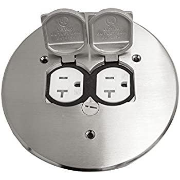 Enerlites 705517 S Round Flange Dual Flip Cover By Electrical Floor Box Lid 20A