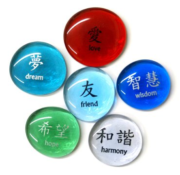 Chinese Character Glass Stones, Set II, Set of 6