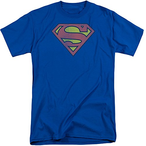 Big and Tall Fit Superman Distressed Logo Mens T-Shirt Royal (2XL Tall) (Super Logo Graphic Tee)