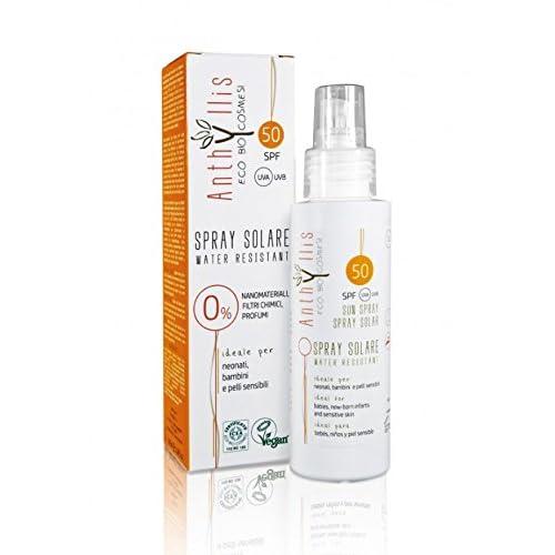 Crème solaire SPF 50Eco Bio anthyllide bébés enfants et peau sensible Filtre UVA/UVB. Remplace le antérieure anthyllide SPF 50Enfant. Présentation en spray