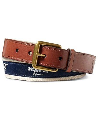 Polo Ralph Lauren Men's Knot Embroidered Nautical Webbed Belt Navy (32) - Lauren Cotton Belt