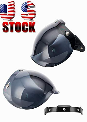 (MotorFansClub 3-Snap Bubble Shield Visor Street Motorcycle Helmet Accessories with Removable Flip Adapter Universal (Dark Smoke, One Size))