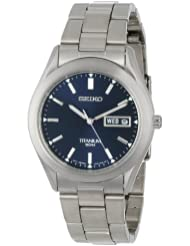 Seiko 精工男士SGG709 钛合金蓝表盘日历腕表Titanium $109.05