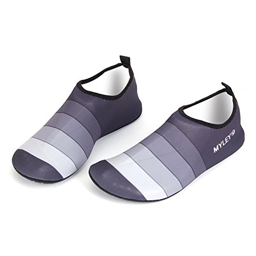 Strip Couple Matching Water Shoes,Wingbind Barefoot Aqua Shoes Beach Shoes Water Aerobics Diving Surfing Swim Pool Ocean Shoes for Women Men Unisex Adult Grey