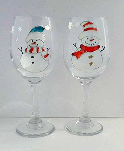 (2 Snowman Hand Painted Holiday Wine Glasses )
