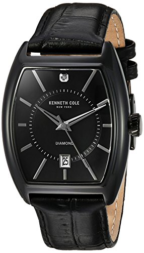 Kenneth Cole New York Men's 'Diamond' Quartz Stainless Steel and Leather Dress Watch, Color:Black (Model: 10030820)