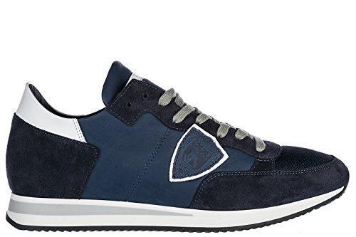 Philippe Model Scarpe Sneakers Uomo Camoscio Nuove Tropez Blu
