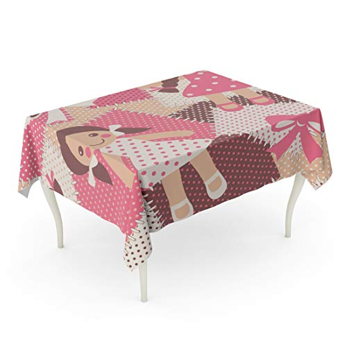 Tarolo Rectangle Tablecloth 52 x 70 Inch Beige Adorable Vintage Rag Dolls Patchwork Cute Toys Pink Baby Beautiful Bow Cartoon Childhood Table Cloth