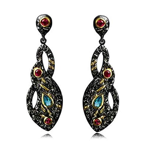 Vintage Style Black Gold-Color Jewelry Blue Red CZ Bezel Anniversary Gift Big Drop Infinity Earrings ZE52770 Black Gun Plated