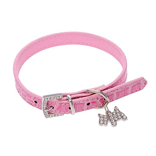 Puppy Cat Choker Necklace Seat Belt Dog Collar Pet Classic Leash Adjustable Dog Harness (S, Pink) (Custom Designer Dog Collar Collars)