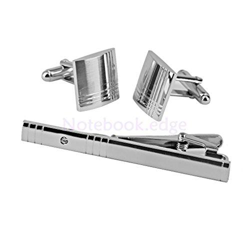 Men's Jewelry Stripes Pattern Cufflinks Set Tie Clip Pin Clasp Bar Xmas Gift (Necktie Cufflinks Stripes)