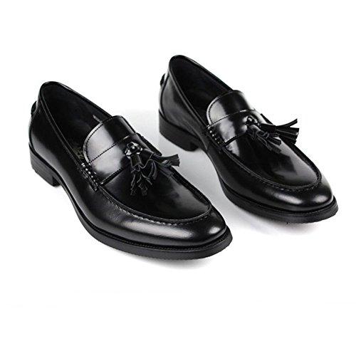 Zapatos De Cuero Ocasionales De Cuero Genuino De Santimon-Hombres Zapatos Oxford De Color Negro