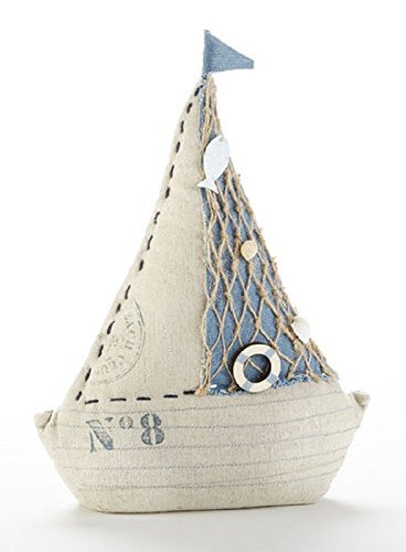 (Delton Nautical Sail Boat Door Stop of Weighted Canvas, Blue, White)