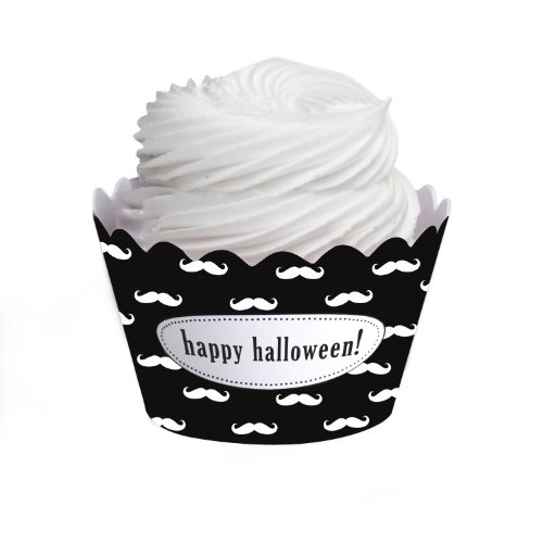 Dress My Cupcake Personalized Message Cupcake Wrappers, Mustache, Happy Halloween, Set of 12 -