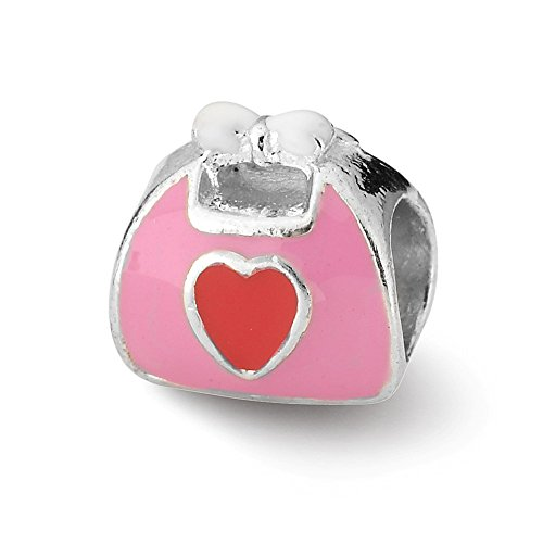 Pink Purse Enameled (Roy Rose Jewelry Sterling Silver Reflection Beads Pink/Red Enameled Purse Bead)