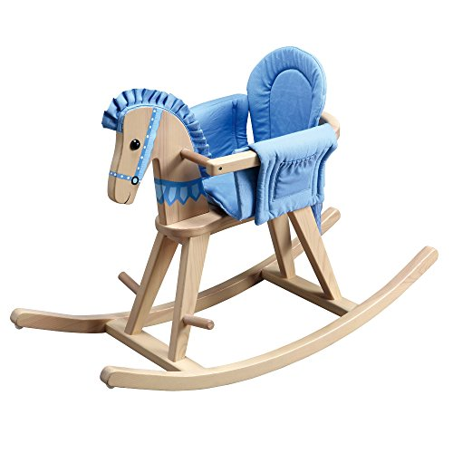 Teamson Kids - Safari Wooden Rocking Horse with Removeable Safety Surrond Pad for Toddlers - Natural / Blue by Teamson Design Corp