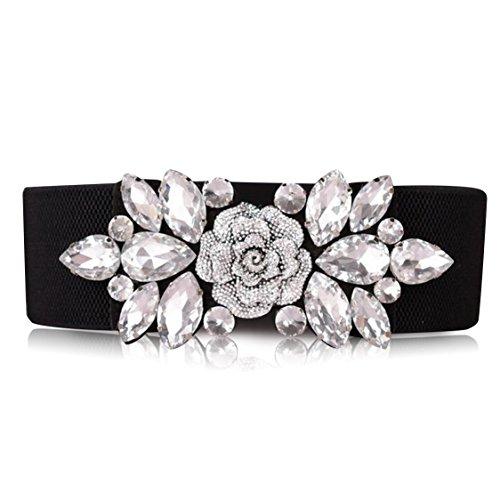 SanJL Women's Elastic Stretch Waist Belt for Dress Crystal Waistband (White A)