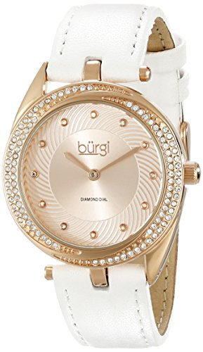 Burgi Women's BUR122WTR Diamond & Crystal Accented Swirl Design Rose Gold and White Leather Strap Watch