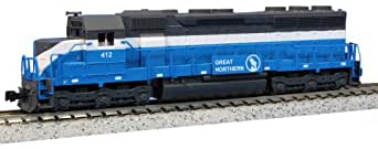 "Kato USA Model Train Products EMD SD45 Great Northern #412 ""Big Sky Blue"" N Scale Train"