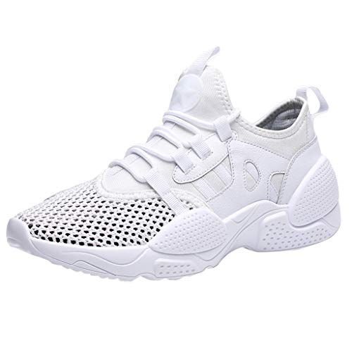 (Londony ✡ Men's Lightweight Athletic Running Shoes Breathable Sport Air Fitness Gym Jogging Sneakers Air Cushion Sneaker White)