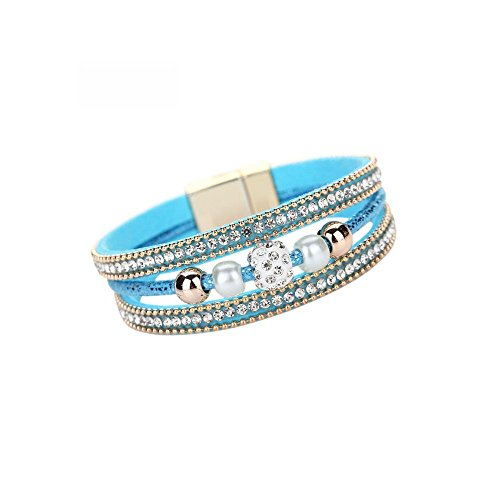 (Clearance! Bracelets for women JSPOYOUWomen Multilayer Bangle Bracelet Crystal Beaded Leather Magnetic Wristband (Blue))