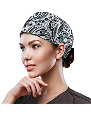 QBA Adjustable Working Cap with Button, Cotton Working Hat Sweatband, Elastic Bandage Tie Back Hats for Women & Men, One Size