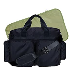 Trend Lab Deluxe Style Diaper Bag, Black and Avocado Green