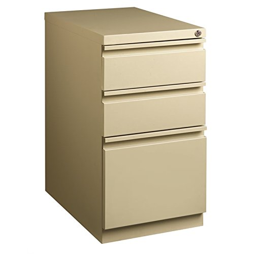 Hirsh 23 in Deep 3 Drawer Mobile Pedestal File in Putty by Hirsh Industries