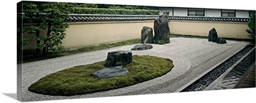 Great BIG Canvas Gallery-Wrapped Canvas entitled Statues in a garden, Rock Garden, Ryoanji Temple, Ryogen-in, Kyoto Japan (Ryoanji Temple Kyoto Japan)
