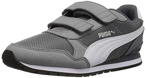 (Puma Unisex ST Runner V2 MESH Kids Sneaker Velcro Closure, Steel Gray/White , 13 M US Little Kid)