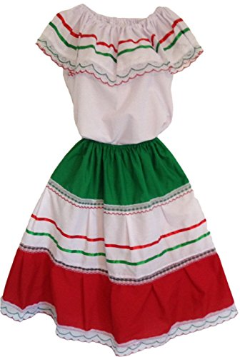 Size 8 Medium Colored-Mexican Elastic Dress Skirt & Blouse for any Mexican Occasion-DT38A