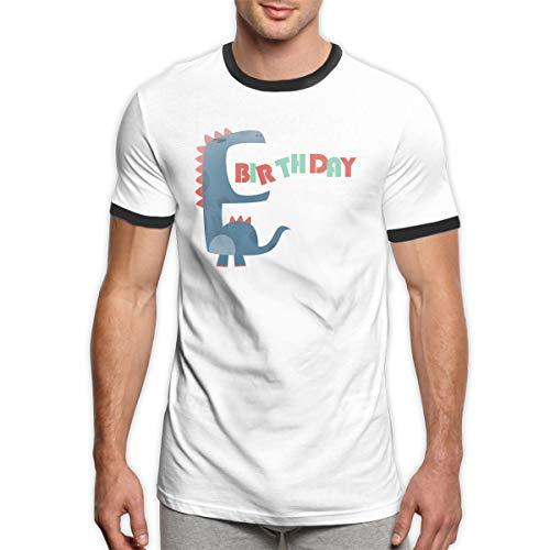 MiiyarHome Men's Ringer T-Shirt Dinosaur Movie, Men Short Sleeves Jersey Causal Tee Black - T-shirt Ringer Dinosaur
