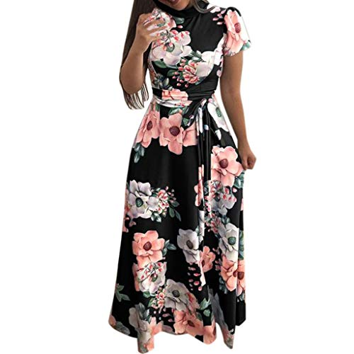 TOTOD Women Dress Short Sleeve V Neck Floral Print Long Maxi Evening Party Dress,Mother's Day Sale