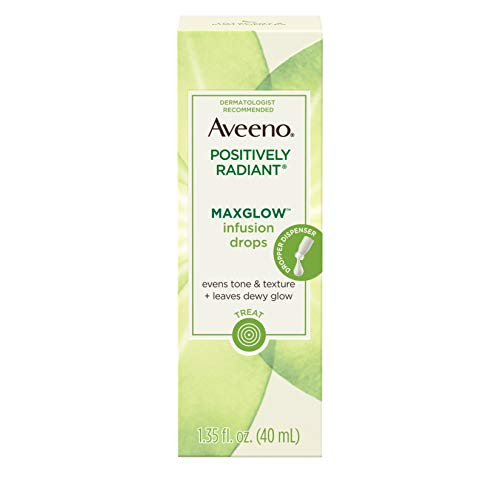 - Aveeno Positively Radiant MaxGlow Infusion Drops with Moisture Rich Soy & Kiwi Complex, Hypoallergenic, Non-Comedogenic, Paraben- & Phthalate-Free Moisturizing Facial Serum, 1.35 fl. oz