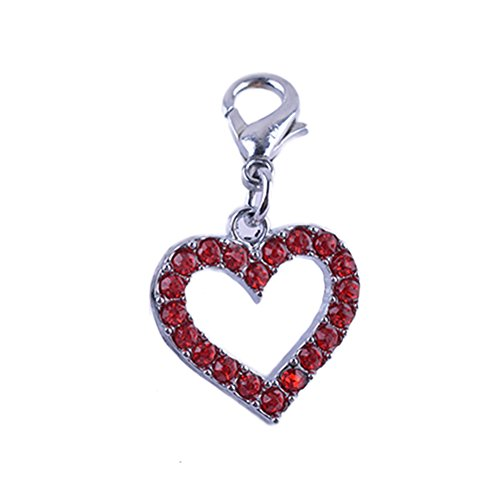 dxS8hhuo Pet Collar Neck Strap Scarf Rhinestone Alloy Heart Pet Dog Tag Pendant Collar Charm Jewelry Accessories - Red ()