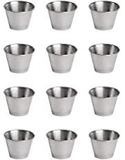 bobotron 12 Pack Steel Condiment Sauce Cups,Commercial Grade Dipping Sauce Cups,Ramekin Condiment Cups Portion Cups
