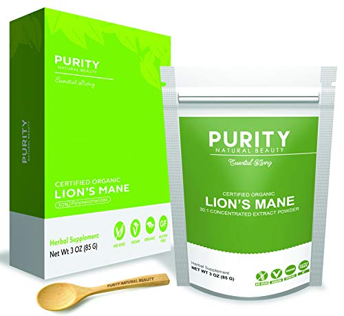 Organic Lions Mane Mushroom Powder - Lions Mane Mushrooms Extract (30% Beta-D-Glucans) with No Added Fillers, Bonus Bamboo Spoon