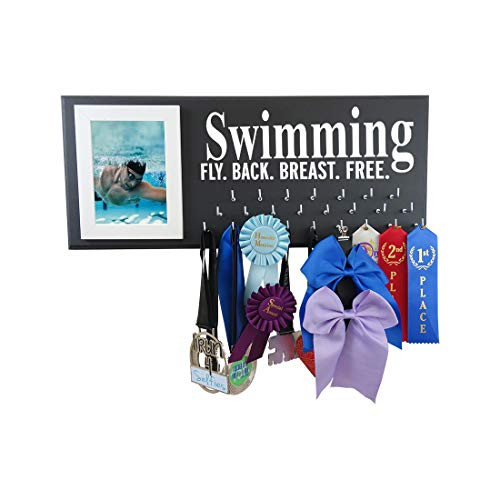 - RunningontheWall Swimming Medal Hanger, Swimming Gifts for Men Swimming Fly. Back. Breast. Free. Swimmer Medal Display, Swimming Ribbon Display Rack