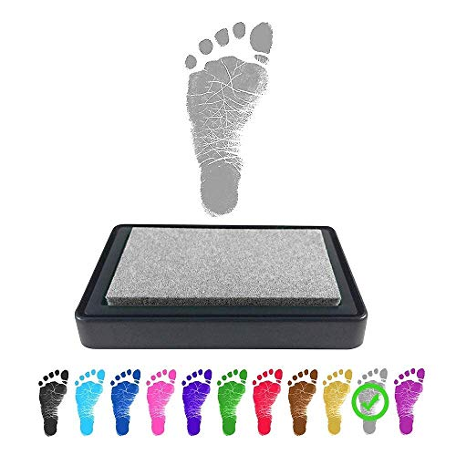 ReignDrop Ink Pad For Baby Footprint, Handprint, Create Impressive Keepsake Stamp, Non-Toxic and Acid-Free Ink, Easy To Wipe and Wash Off Skin, Smudge Proof, Long Lasting Keepsakes (Shimmer Silver)