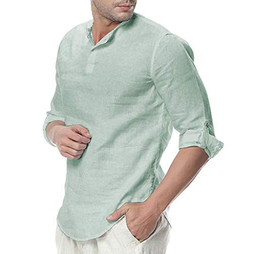 TOPUNDER Mens Linen Button Three Quarter Sleeve Solid Color Loose Casual T Shirt Blouse Light Blue