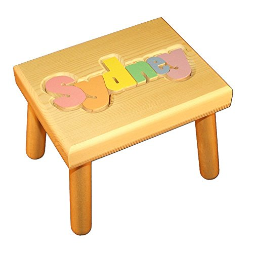 Personalized Wooden Child's Name Puzzle Stool Pastel Colors