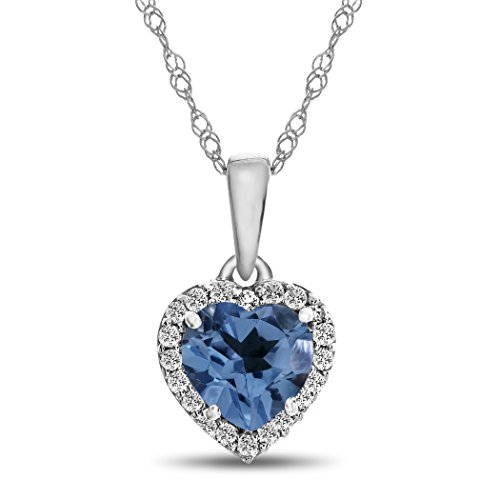 (Finejewelers 10k White Gold 6mm Heart-Shaped Swiss Blue-Topaz White Topaz Accent Stones Halo Pendant Necklace)