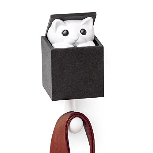 Cute Kitten Wall Hook Kitt-A-Boo by Qualy Design Studio. White and Black Colors. Unusual and Practical Wall Decor. The Kitten Will Greet you every Time you Hang on the Hook! -