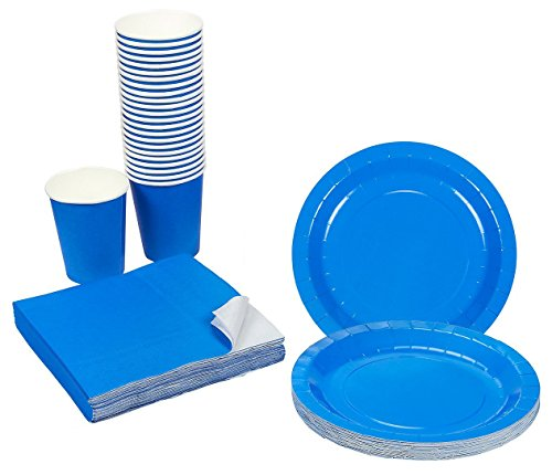 Blue Party Supplies - 24-Set Paper Tableware - Disposable Dinnerware Set for 24 Guests, Including Paper Plates, Napkins and Cups, -