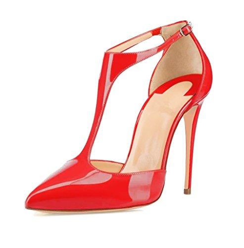 Pumps Damen EDEFS T Spange Knöchelriemchen mit Schuhe Rote Schnalle Zehen Spitze qH7X7WPrwd