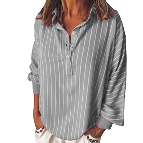 YKARITIANNA Fashion Woman Loose Casual Striped Button Lapel Long Sleeve Shirt Top Blouse 2019 Summer Grey (Best Geek Toys 2019)