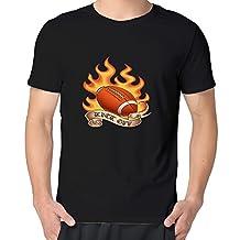 Mens Guys Football Fire Kick Off Short O-Neck T-Shirts