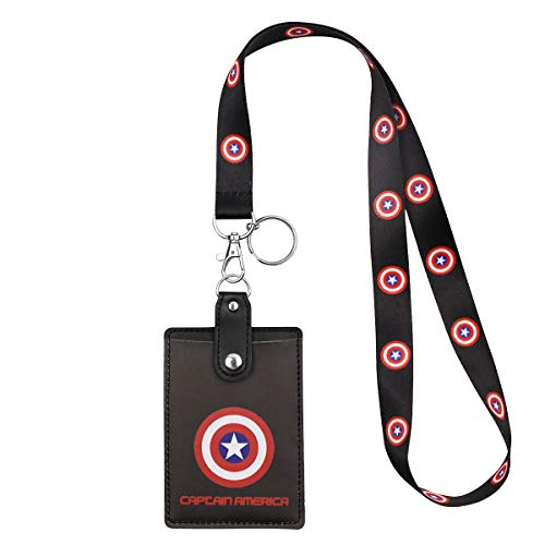 Ring Key Boy (HASFINE Cute Credit Card Case Neck Pouch ID Badge Holder Lanyard with Cartoon Shield Keychain for Students Teens Boys Girls Women)